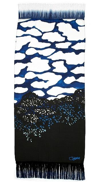 Diane von Furstenberg Satin Chiffon Grid Scarf