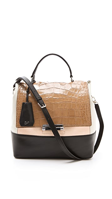 Diane von Furstenberg 440 Top Handle Embossed Croc Bag