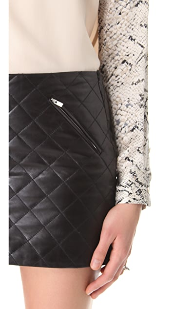 Diane von Furstenberg Daria Quilted Leather Skirt