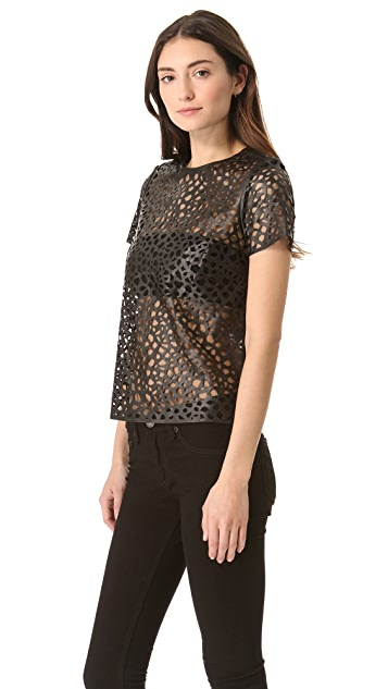 Diane von Furstenberg Sade Leather Leopard Top