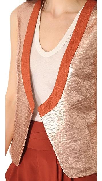 Diane von Furstenberg Joline Metallic Sequin Vest