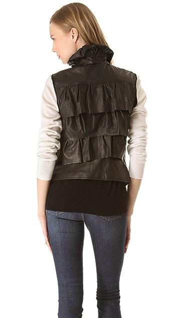 Diane von Furstenberg Cupcake Leather Bomber Vest