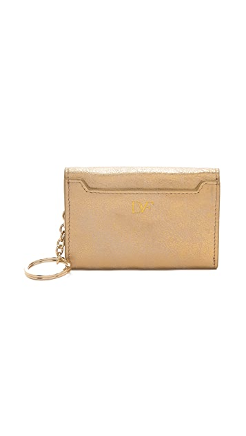 Diane von Furstenberg Lips Metallic Card Wallet
