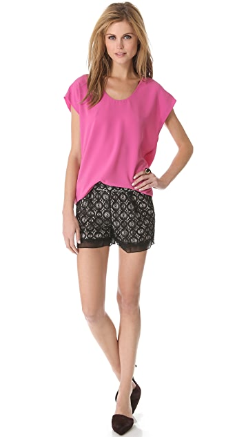 Diane von Furstenberg Ginger Metallic Lace Shorts