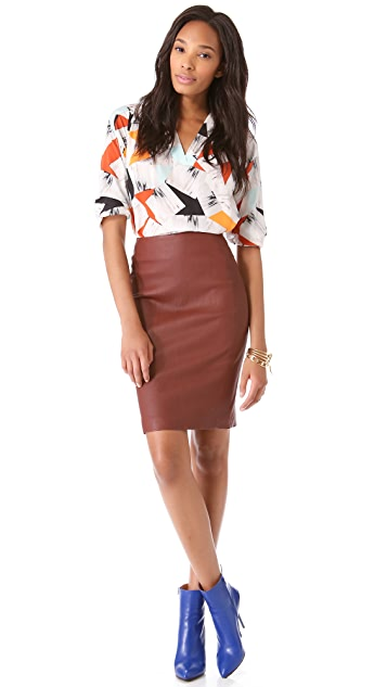 Diane von Furstenberg Marta Leather Pencil Skirt