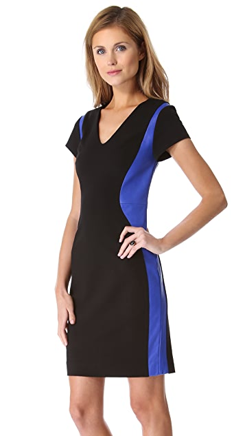 Diane von Furstenberg Dayton Dress with Leather Trim