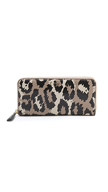 Diane von Furstenberg Leopard Printed Zip Around Wallet