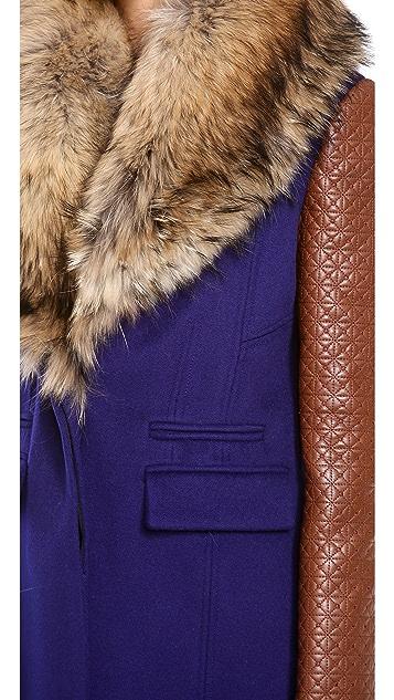 Diane von Furstenberg Bell Fur Collar Coat
