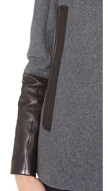 Diane von Furstenberg Eva Leather Trim Coat