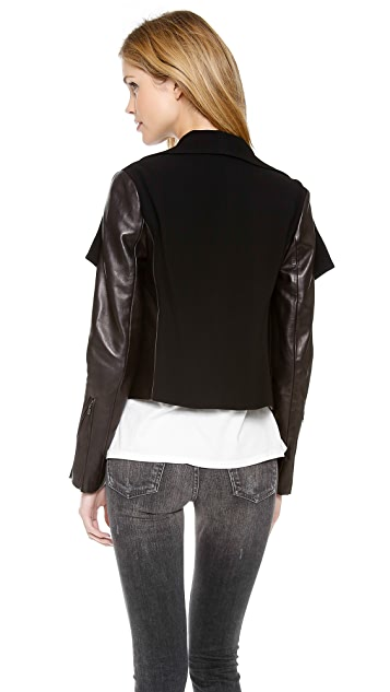 Diane von Furstenberg Olympia Leather Sleeve Jacket