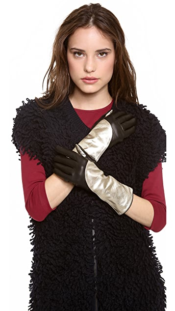 Diane von Furstenberg Asymmetrical Colorblock Gloves