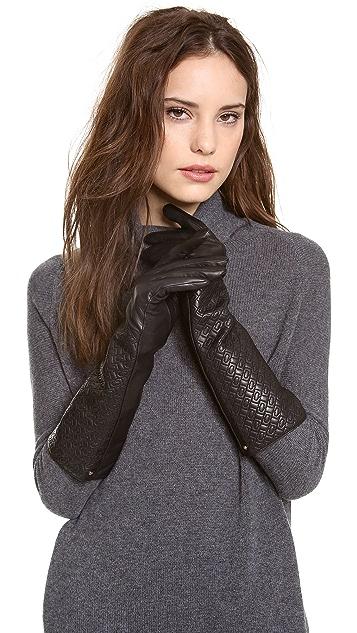 Diane von Furstenberg Chain Link Quilted Gloves