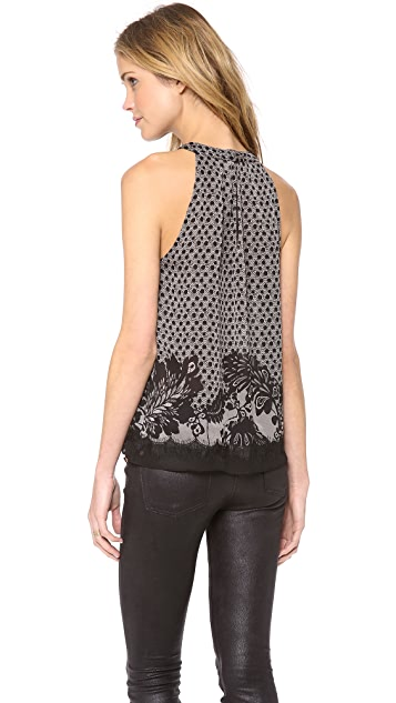 Diane von Furstenberg Parvati Printed Lace Chiffon Top
