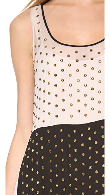 Diane von Furstenberg Abrielle Crystal Scoop Colorblock Dress
