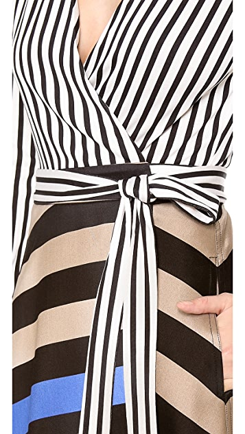 Diane von Furstenberg Amelia Stripe Wrap Dress