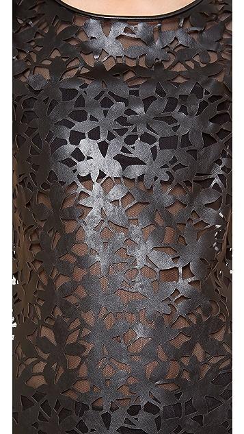 Diane von Furstenberg Ora Laser Cut Leather Tee
