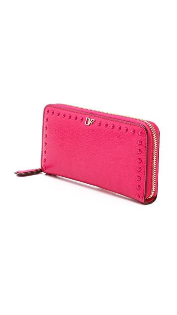Diane von Furstenberg Studded Leather Zip Around Wallet
