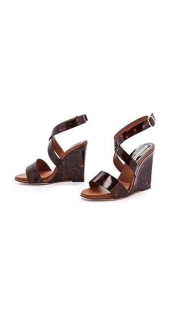 Diane von Furstenberg Wilma Tortoise Wedge Sandals