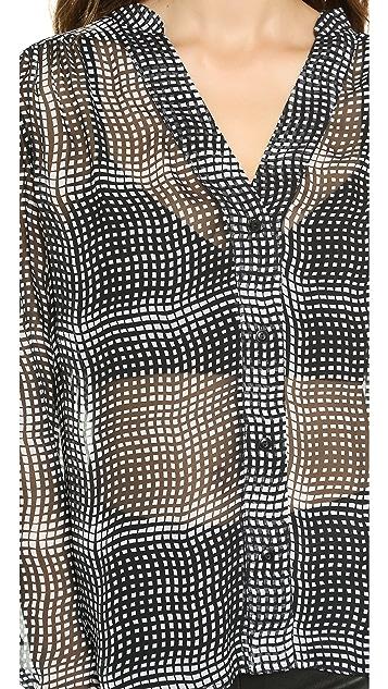 Diane von Furstenberg Harlow Chiffon Plaid Blouse