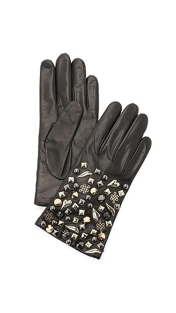 Diane von Furstenberg Studded Leather Gloves