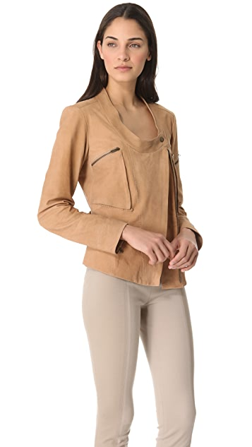 Donna Karan New York Collarless Asymmetrical Zip Jacket