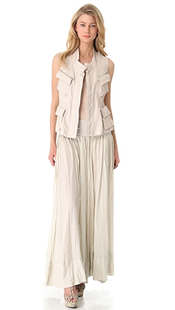 Donna Karan New York Drawstring Leather Vest
