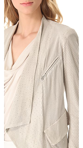 Donna Karan New York Cozy Perf Suede Jacket