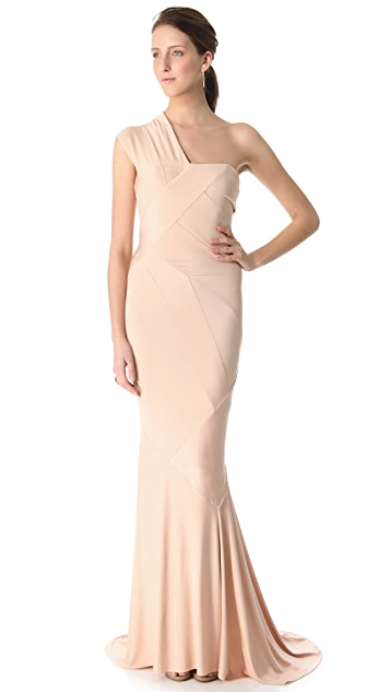 Donna Karan New York One Shoulder Evening Gown