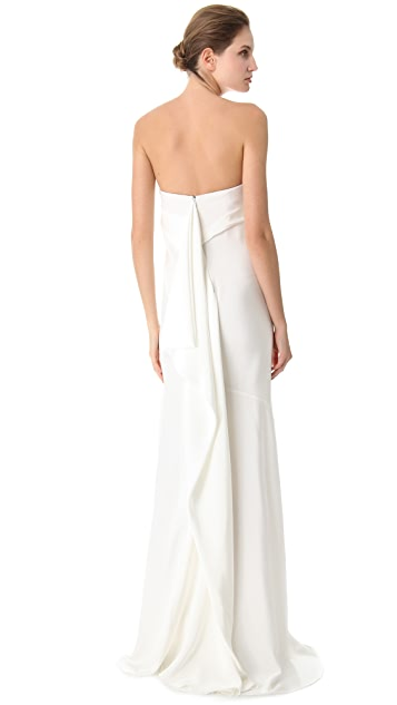 Donna Karan New York Bustier Evening Gown with Cascading Folded Back