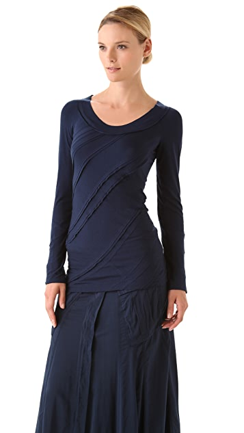Donna Karan New York Long Sleeve Patchwork Tee