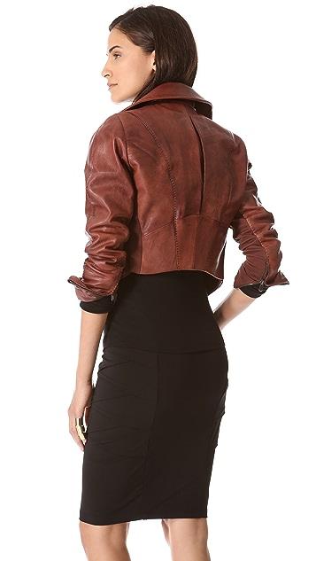 Donna Karan New York Cropped Leather Biker Jacket