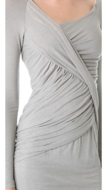Donna Karan New York Draped Dress with Long Sleeves