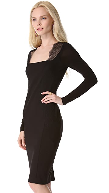 Donna Karan New York Long Sleeve Dress with Lace