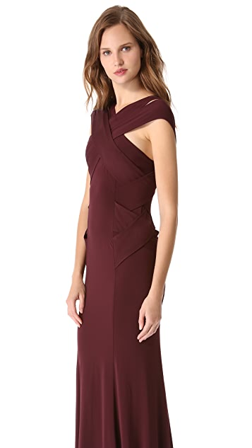 Donna Karan New York Cross Neck Evening Gown