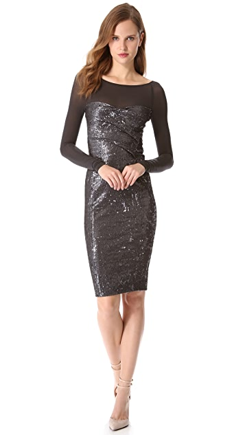 Donna Karan New York Sequin Dress with Illusion Sleeves