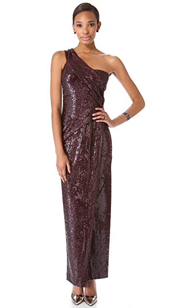 Donna Karan New York One Shoulder Sequin Gown