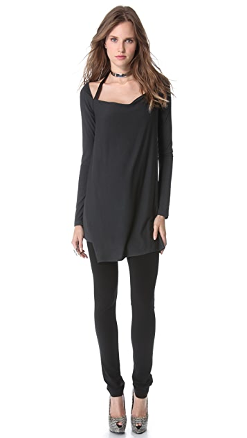 Donna Karan New York Long Sleeve Asymmetric Drape Tunic