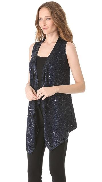 Donna Karan New York Sequin Long Drape Vest
