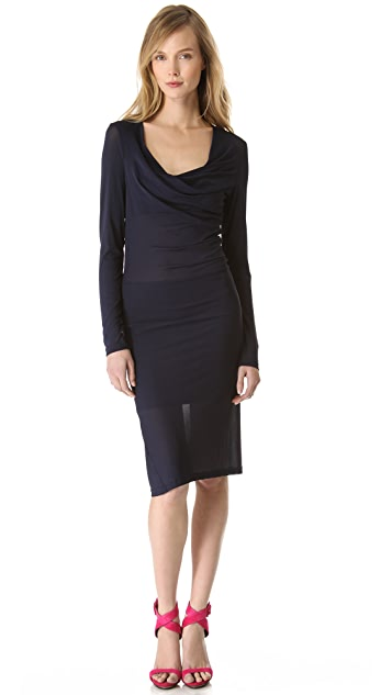 Donna Karan New York Long Sleeve Draped Dress