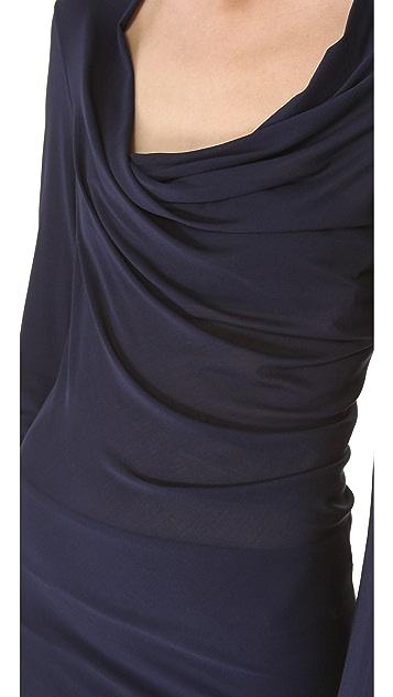 Donna Karan New York Long Sleeve Draped Dress