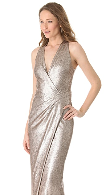 Donna Karan New York Plunge V Evening Dress with Slit