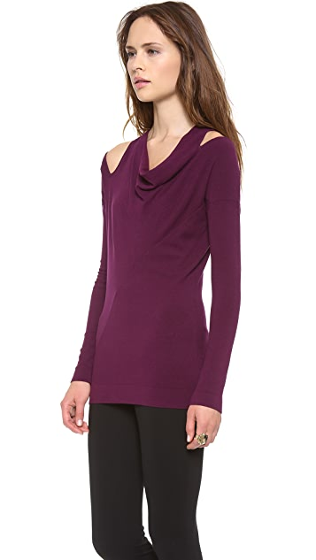 Donna Karan New York Long Sleeve Cold Shoulder Tunic