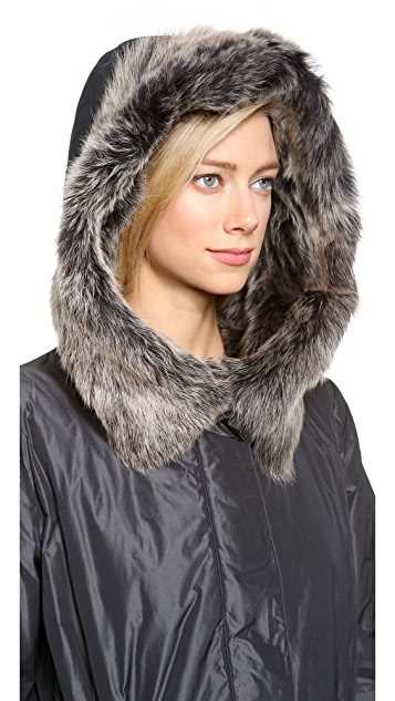 Donna Karan New York Parka with Shearling Hood