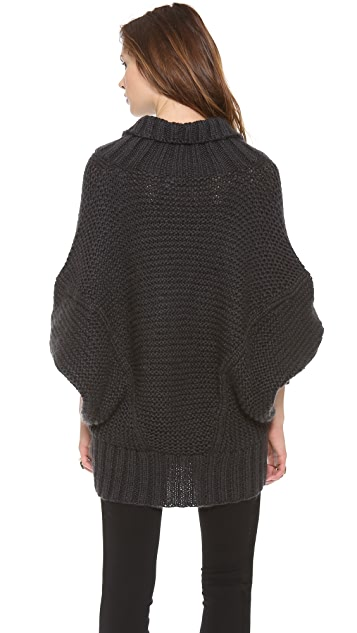 Donna Karan New York Long Sleeve Drape Neck Sweater