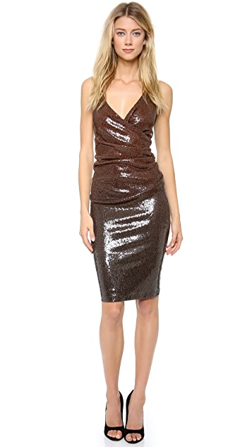 Donna Karan New York Plunge Sequin Cocktail Dress
