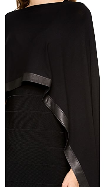 Donna Karan New York Cape with Leather Border