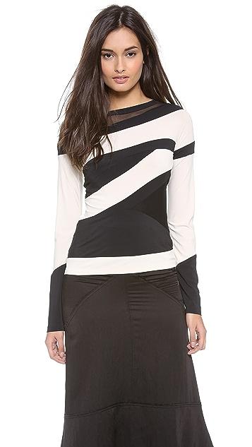 Donna Karan New York Striped Long Sleeve Top