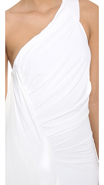Donna Karan New York One Shoulder Draped Evening Gown