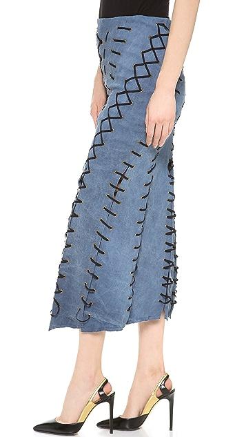 Donna Karan New York Pull On Eyelet Laced Seamed Skirt