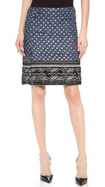 Donna Karan New York Beaded Scissor Skirt